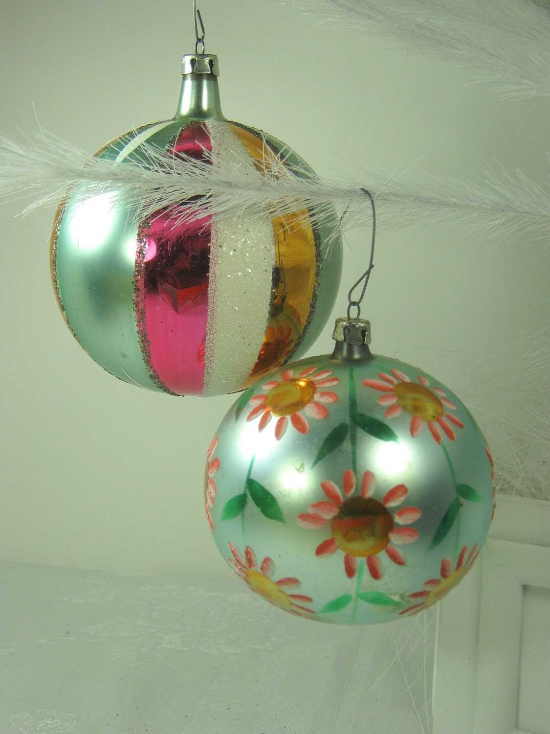 Vintage mercury glass ornaments huge hp mica christmas tree Vintage glass christmas tree ornaments