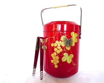 Vintage Ice Bucket with tongs Lacquer Gold Leaves Box Stunning Red Ice Bucket