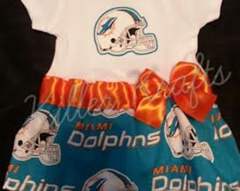 Miami Dolphins inspired baby girl outfit