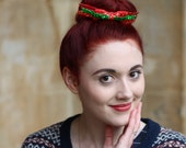 Christmas Glitter Hair Bow - Green on Red
