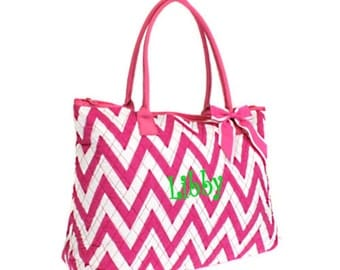 Personalized Quilted Chevron Tote Bag Hot Pink Zig Zag Pattern Overnight or Dance Bag Monogrammed FREE