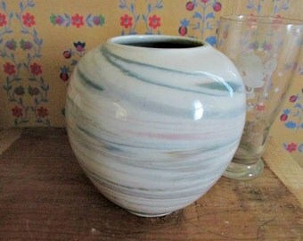 Vintage Bulbous Vase, Multi Colored Lines, Colored Swirl lines, Blue & Green, Decorative Vase