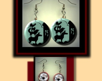 BREMEN Town Musicians German Folklore Brothers Grimm Altered Art Dangle Earrings with Rhinestone