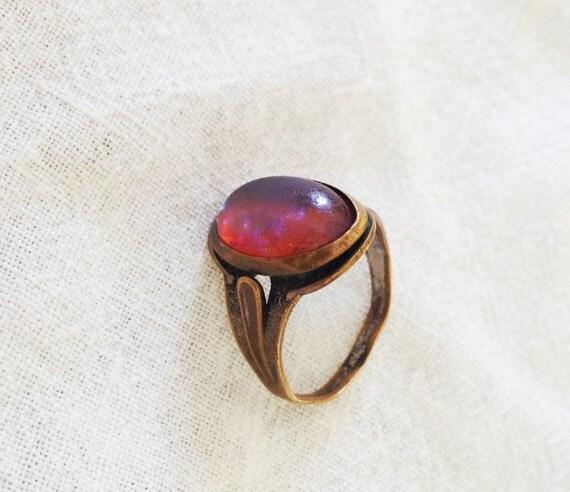antique nouveau ring antique black opal bronze by moderra