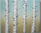 "16""x20"" original birch tree painting"