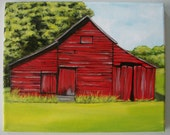 "8x10"" red barn painting"
