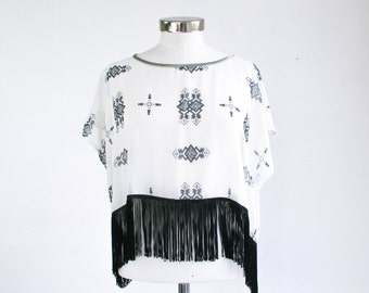 Fringe and chiffon top with ornamental print, super light summer sheer top, oversized, one size