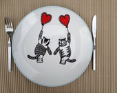 Hand painted plate-size 11 inches in diameter -Cats- dinner plate - hand painted-Title- Love is in The Air.