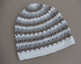 Clearance Taupe Silver and White Striped Crochet Beanie Womens Neutral Sparkle Crochet Hat (HAT103 Diam/Moon/Plat)