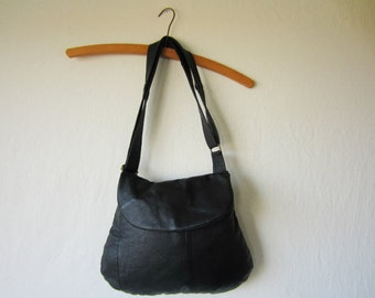 MADE TO ORDER Black Leather Cross Body Bag with Flap