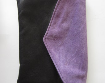 genuine leather clutch with black leather & purple suede flap