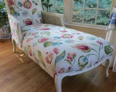 Cane-Sided French Chaise in Botanical Linen Fabric - Totally Refurbished
