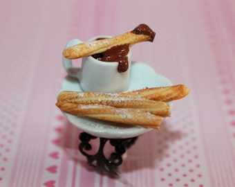 Chocolate Churros Ring - Food Ring - Kawaii Ring - Miniature Food Jewelry - Hot Chocolate Ring - Carnival Jewelry