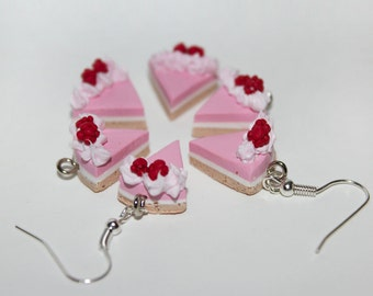 cake Earrings - Cheese Cake Earrings - Pink Cake Earrings - Food Earrings