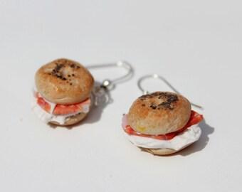 Bagel Earrings - Cream Cheese and Salmon Bagel Earrings - Food Earrings - Kawaii Earrings