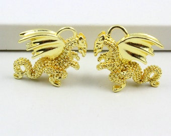 4Pcs Gold Dragon Charm Dragon Pendant 17x16mm (PND866)