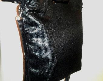 Shopper Tote Black Shiny Canvas Silver Metal Cut-Out Handle Shoulder Strap