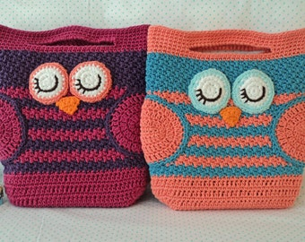 Free Crochet Pattern Owl Tote Bag : Crochet Owl Bag Pattern