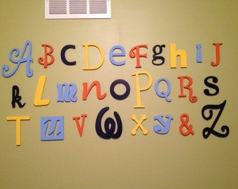 "Sale! Wooden Alphabet Letter Set -5"" to 10"" letters- ALphabet Wall decor- Hanging wall Letters-Nursery Letters-Alphabet letters"