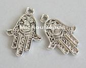 5 Fatima HAMSA Hand 25mm Charm Pendant - Antiqued SILVER 25x15mm Double Sided Boho Luck Protection Charm Dangle - USA Seller - 5612