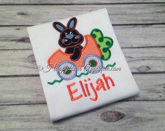 Easter Bunny in Carrot Car Shirt - Appliqued and Embroidered