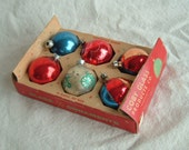 Vintage Christmas Tree Mercury Ball  Ornament Collection Set of Six