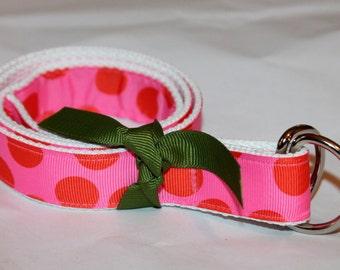 Toddler Belt Adjustable Children's Belt Hot Pink and Orange Ribbon Belt Girls Polka Dot Belt Preschool Belt Kids XL Belt