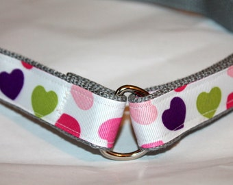 Girls D Ring Velcro Belt Hearts Little Girl Heart Belt Hook and Loop Belt with Hearts Pink and Purple Heart BElt Girls First Belt