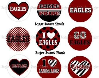 INSTANT DOWNLOAD Eagles 2 Maroon  School Mascot 1 inch Circle Bottlecap Images 4x6 sheet