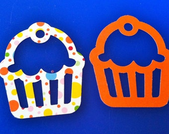 24 cup cake silouette White with colored spots  paper punch, die cuts, 2 inch Hand punched