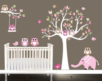 Nursery Decals, elephant nursery wall decals, Owl wall decals, tree wall decal, Owls