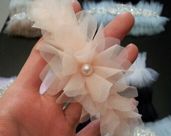 Blush Garter, Dusty Pink, Light peach, Ivory  Garter - Wedding Garter Ivory Organza Flower, Crystal Garter