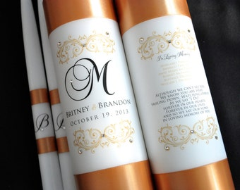 Monogram unity candle and memorial candle, Wedding unity candle, Gold wedding, Unity Candle