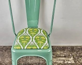 Custom Painted & Upholstered Tolix Style High Back Side Chair Color and Fabric of your Choice