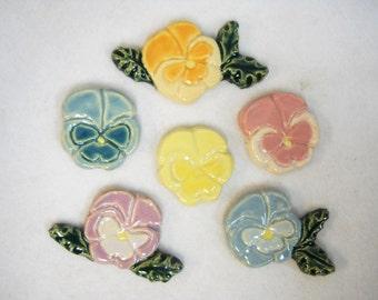 Handmade Ceramic Tiles PANSIES Pastel Assortment set of 6