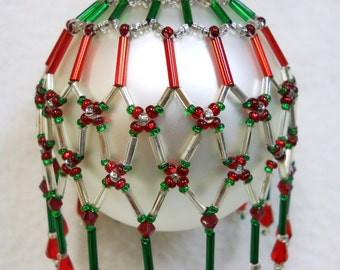 """PATTERN ONLY Beaded Christmas Ornament Cover Holiday Original """" Tapestry""""  FREE Shipping"""