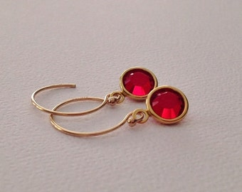 Tiny Ruby Red Earrings in Gold