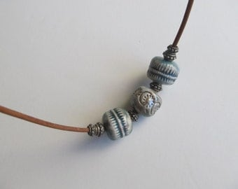 Ceramic Bead Necklace With Leather Cord
