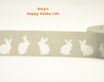 Japanese Washi Masking Tape - Rabbits with Grey - 11 Yards