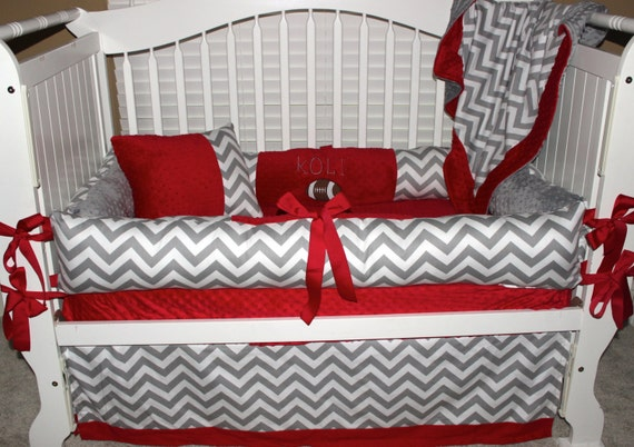 Ohio State Custom Baby Bedding 6 Pc Set With Football Applique