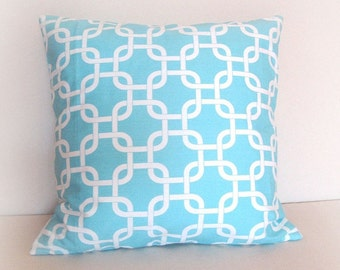 CLEARANCE 50% OFF Decorative Pillow Covers Chain Link Girly Blue and White 20X20 Inch Throw Pillow Cover