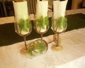 Palm tree Party hand painted wine glasses