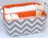"""XLA Diaper Caddy with 2 Sections 13""""x11""""x7"""" Fabric Storage Organizer, Basket, Grey/White Chevron with Orange Lining"""