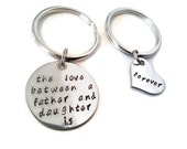 """FATHER & Daughter Matching Set """"The love between a father and daughter is forever"""" hand stamped SET"""