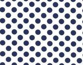 Navy Blue and White Polka Dot Fabric - Ta Dot by Michael Miller, 1/2 Yard