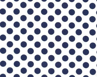 Navy Blue and White Polka Dot Fabric - Ta Dot by Michael Miller, 1/2 Yard