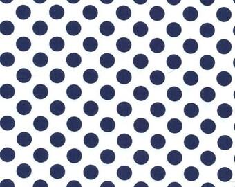 Navy Blue and White Polka Dot Fabric - Ta Dot by Michael Miller, 1 Yard