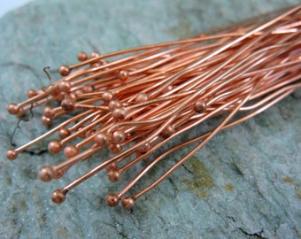 COPPER BALL HEADPINS, 21 Gauge 3 Inch Length, Lot of 20