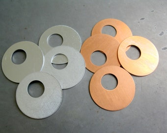 OFFSET WASHER for Stamping, 1 Inch OD, Qty 4, Copper or Aluminum, Ready to Ship!