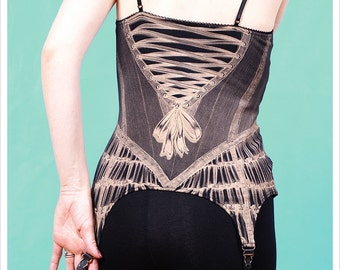 prerorder - Tank Top Garters by Carousel Ink - Wearable Art Corset Tank Top - Black Tank